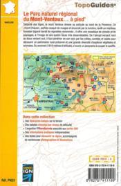 Le parc naturel régional du Mont-Ventoux ... à pied - 4ème de couverture - Format classique