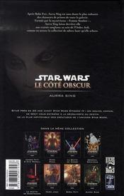 Star Wars - le côté obscur t.8 ; Aurra Sing - 4ème de couverture - Format classique