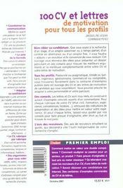 100 Cv Et Lettres De Motivation Pour Tous Les Profils - 4ème de couverture - Format classique