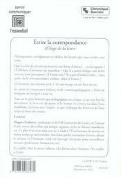 Écrire la correspondance ; (é)loge de la lettre - 4ème de couverture - Format classique