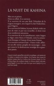 La nuit de Kahina - 4ème de couverture - Format classique