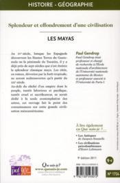 Les mayas (9e. édition) - 4ème de couverture - Format classique
