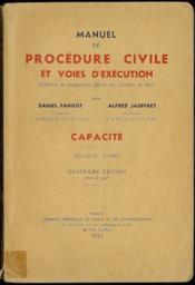 MANUEL DE PROCÉDURE CIVILE ET VOIES D'EXÉCUTION, Capacité 2ème année, 4èmeéd. mise à jour - Couverture - Format classique
