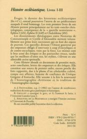 Histoire ecclésiastique ; livre I-III - 4ème de couverture - Format classique