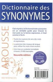 Dictionnaire des synonymes - 4ème de couverture - Format classique