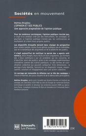 L'opinion et ses publics ; une approche pragmatiste de l'opinion publique - 4ème de couverture - Format classique