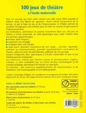 100 Jeux De Theatre A L'Ecole Maternelle - 4ème de couverture - Format classique