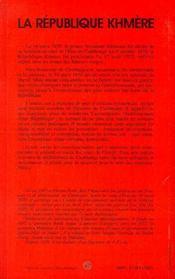 La Republique Khmere - 4ème de couverture - Format classique