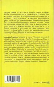 Le socialisme distributiste ; Jacques Duboin 1878-1976 - 4ème de couverture - Format classique