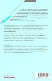 La Phrase Complexe - Les Subordinations - 4ème de couverture - Format classique