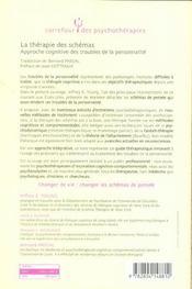 La thérapie des schémas ; approche cognitive des troubles de la personnalités - 4ème de couverture - Format classique