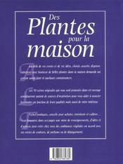 Des Plantes Et Fleurs Dans La Maison - 4ème de couverture - Format classique