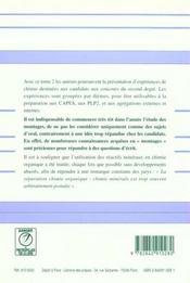 Experiences Chimie Capes T2: Minerale - 4ème de couverture - Format classique