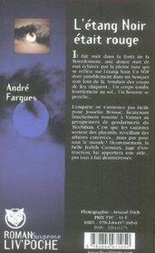 L'Etang Noir Etait Rouge - 4ème de couverture - Format classique