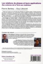 Les relations de phases et leurs applications ; des sciences de la terre aux matériaux - 4ème de couverture - Format classique