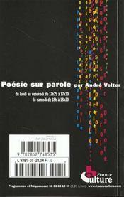 Revue poesie vagabondages n25 - 4ème de couverture - Format classique