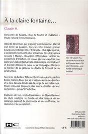 A la claire fontaine - 4ème de couverture - Format classique