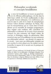 Philosophie occidentale et concepts bouddhistes - 4ème de couverture - Format classique
