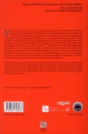 Femmes, rhétorique et éloquence sous l'Ancien Régime - 4ème de couverture - Format classique