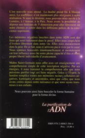 La purification de l'ADN ; enseignement de la flamme violette et de l'esprit - 4ème de couverture - Format classique