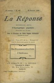 La Reponse. Revue Mensuelle D'Apologetique Populaire. N°182, 15 Fevrier 1923. Une Excommunication Civile. L'Intolerence. - Couverture - Format classique