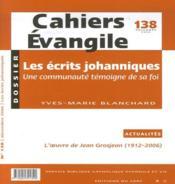 Ce-138. les ecrits johanniques - 4ème de couverture - Format classique