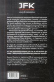 JFK ; 11-septembre ; 50 ans de manipulations - 4ème de couverture - Format classique