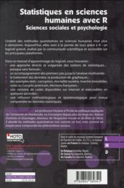 Statistiques en sciences humaines avec R ; sciences sociales et psychologie - 4ème de couverture - Format classique