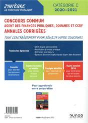 Concours commun agent des finances publiques douanes et CCRF ; annales corrigées (édition 2019/2020) - 4ème de couverture - Format classique