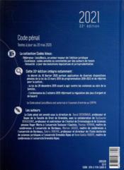 Code pénal (édition 2021) - 4ème de couverture - Format classique
