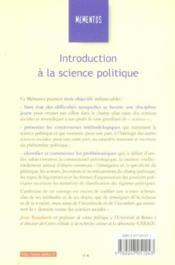 Introduction à la science politique - Couverture - Format classique