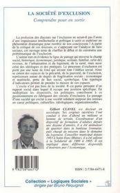 La Societe D'Exclusion ; Comprendre Pour En Sortir - 4ème de couverture - Format classique