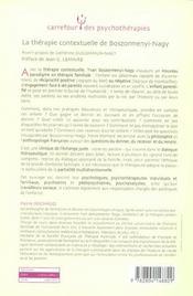La thérapie contextuelle de Boszormenyi-Nagy ; une nouvele figure de l'enfant dans le champ de la thérapie familiale - 4ème de couverture - Format classique