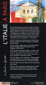 L'Italie à Paris - 4ème de couverture - Format classique