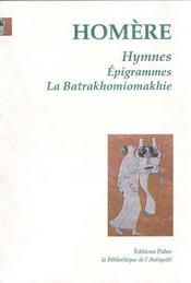 Hymnes ; épigrammes ; la batrakhomiomakhie - Intérieur - Format classique