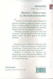 Hymnes ; épigrammes ; la batrakhomiomakhie - 4ème de couverture - Format classique
