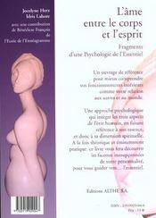 L'âme entre le corps et l'esprit ; fragments d'une psychologie de l'essentiel - 4ème de couverture - Format classique