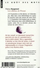 Les rillettes de Proust ; 50 conseils - 4ème de couverture - Format classique