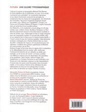Futura ; une gloire typographique - 4ème de couverture - Format classique