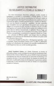 Justice distributive ou solidarité à l'échelle globale ? ; John Rawls et Thomas Pogge - 4ème de couverture - Format classique