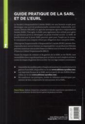 Guide pratique de la sarl et de l'eurl ; créer, gérer, développer - 4ème de couverture - Format classique