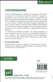 L'historiographie (2e édition) - 4ème de couverture - Format classique