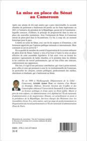 La mise en place du Sénat au Cameroun - 4ème de couverture - Format classique