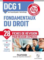 DCG1 ; fondamentaux du droit ; fiches de révision ; réforme 2019/2020 ; réforme expertise comptable 2 - Couverture - Format classique