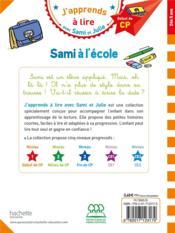 J'apprends à lire avec Sami et Julie ; niveau 1 ; Sami à l'école - 4ème de couverture - Format classique