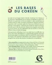 Les bases du Coréen : grammaire progressive en 99 leçons - 4ème de couverture - Format classique