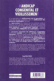 Handicap congenital et vieillissement - 4ème de couverture - Format classique