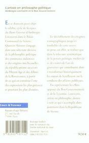 L'artiste en philosophe politique : ambrogio lorenzetti et le bon gouvernement - 4ème de couverture - Format classique