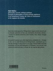 L'antiphilosophie de Wittgentein - 4ème de couverture - Format classique