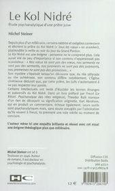 Le kol nidré ; étude psychanalytique d'une prière juive - 4ème de couverture - Format classique